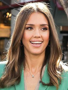 Get the look: Jessica Alba - Shop our Dainty Initial Necklace to get Jessica Alba's look!