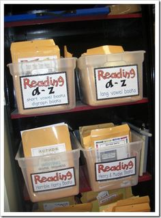 Make books for homework practice using Reading A-Z resources. Print cover on card stock in color. Print the rest of the pages in black and white or however you want. Voila! Store in manila folders with a color copy of the title paper on the front of the book.