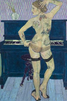 Hope Gangloff - Lydia (The Tattooed Lady), 2013. Acrylic/canvas 81 x 54 in.