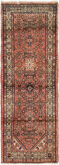 Red 2' 8 x 7' 7 Hossainabad Persian Runner Rug | Persian Rugs | eSaleRugs