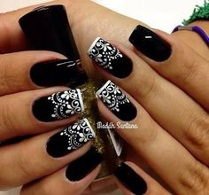 White Lace on Black Nails