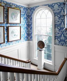 blue printed wallpaper.