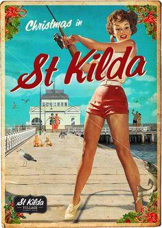 St Kilda Pier Vintage Beach Posters, Vintage Advertising Posters, Vintage Advertisements, Retro Posters, Vintage Ephemera, Vintage Postcards, Posters Australia, Australian Vintage, Retro Illustration