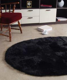 Look what I found on #zulily! Black Oval Sheepskin Rug #zulilyfinds