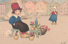 Vintage postcard - Illustration by German artist Fritz Baumgarten (1883-1966)