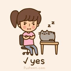 Pusheen the cat: best places to sleep