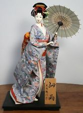 Vintage Japanese Geisha Doll. Traditional Gofun Kimono & Umbrella. Lifelike!