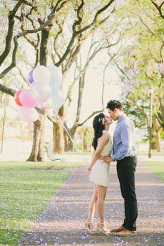 Engagement with balloons | Hendrick and Susan's Spring Engagement Shoot in Perth