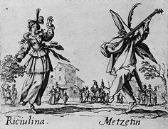 'Riciulina and Metzetin', etching by Jacques Callot, from 'Balli di Sfessania', ca. 1622.