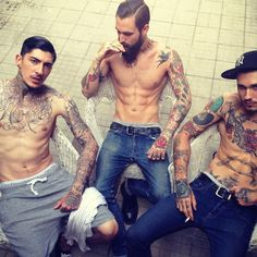 tattooed men with mustaches and fancy slicked hair ;)