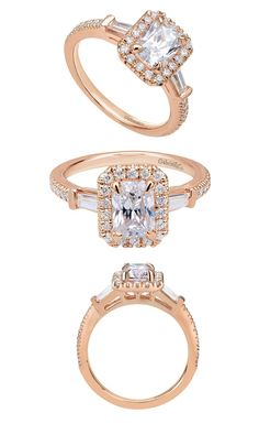 Stay Rose Golden. From the Gabriel Bridal Collection, a 14k Pink Gold Contemporary Halo Engagement Ring by Gabriel & Co. This gorgeous engagement ring will sparkle and shine forever just like your love!
