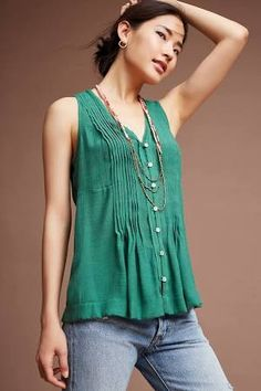 Pintucked Sleeveless Blouse by Maeve, Green, Xs Tops