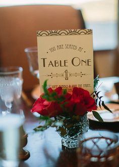Art Deco Table Numbers: Photo by Heidi Ryder Photography via Green Wedding Shoes
