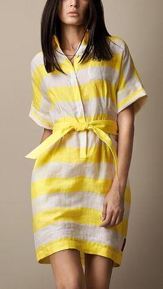 Burberry London Block Stripe Linen Blend Shirt Dress