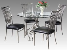 Ashley 5-Piece Glass Top Dining Table Set by Chintaly Imports