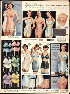 Vintage Lingerie a page like this in a catalog could confuse a young boy. too many choices. Vintage Girdle, Vintage Corset, Vintage Underwear, 1950s Style, 1940s Fashion, Vintage Fashion, Lingerie Retro, Modelos Pin Up, Vintage Outfits