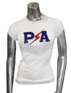 White Pershing Angels t-shirt with lightening between the Greek letters across the chest.