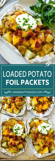 Grilled Potatoes in Foil Potato Foil Packets Loaded Potatoes Foil Packet Dinners, Foil Pack Meals, Foil Dinners, Foil Packet Recipes, Foil Potatoes On Grill, Grilled Foil Potatoes, Diced Potatoes, Baked Potato On Grill, Potatoes On The Bbq