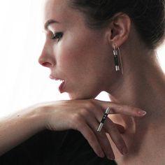 Silver Earrings Pearl - Mesh Earrings - Sterling Silver - Contemporary Jewelry- Black Earrings- Unique