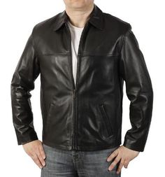Harrington Mens Leather Jacket, all crafted in a Lamb Soft & Supple Leather.  Each jacket is produced as a made to measure order.  Crafted In A Soft Touch Black Nappa Leather Very Simple Design Giving Greater Versatility Which Can Be Worn Either Smart Or Casual Lightweight Feel Comfortable Open Cuff Slanted Inset Handwarmer Pockets Traditional Shirt Style Collar Plain Open Zip Fastening Sattin Lining 100%
