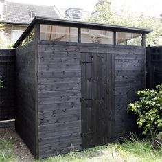 Bespoke 8 x 6 pent with hi-line windows to three sides painted in black basecoat Free Shed Plans 10x12, Garden Structures, Outdoor Structures, Allotment Shed, Black Shed, Man Shed, Outdoor Projects, Outdoor Decor, Ranch Remodel