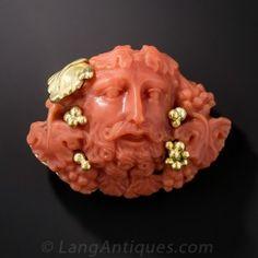 Antique Coral Bacchus Brooch