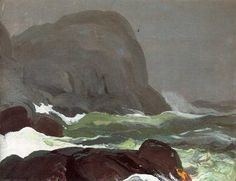 """""""Headland in Fog,"""" George Wesley Bellows, 1913, Oil on panel, 15 x 19 1/2"""", Private collection."""