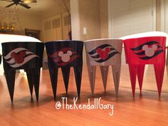 Designed and cut out vinyl of Disney Cruise logo on Beach Spikers • Beach Cup Holders • Vacation | Pinterest: @TheKendallGary |