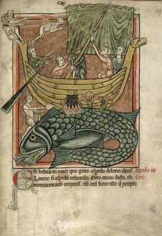 Miniature of a whale and a sailing boat, from a Bestiary, with extracts from Giraldus Cambrensis, England (Salisbury?). Second quarter of the 13th century, British Library, Harley MS 4751, f. 69