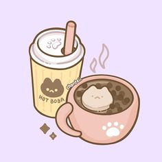 ☕️ Tofu Boba and Hot bubble tea ✨ Its been really cold lately so I love to drink hot bubble tea and tofu☺️ This is just part 1 of my new boba sticker series, I'm super proud with how they turned out so I hope you enjoy! Cute Food Drawings, Cute Kawaii Drawings, Kawaii Doodles, Cute Doodles, Kawaii Art, Bubble Tea Shop, Cute Art Styles, Kawaii Illustration, Cute Cartoon Wallpapers