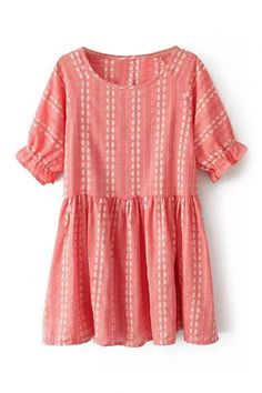 abaday Flare Cuffs Checkered Red Dress
