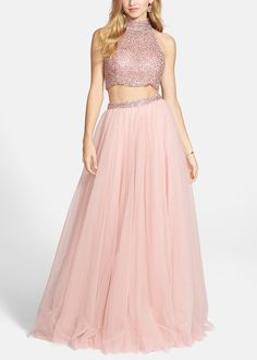 Prom Princess | Embellished crop tank & chiffon skirt.