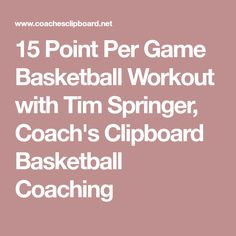 15 Point Per Game Basketball Workout with Tim Springer, Coach's Clipboard Basketball Coaching