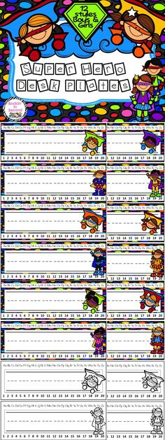 Super Hero Desk Plates Complete your Super Hero classroom with these desk plates. Set includes: 16 different desk plates in 8 designs. Superhero Classroom Theme, Superhero Room, 2nd Grade Classroom, New Classroom, Classroom Themes, Classroom Organization, Classroom Management, Beginning Of School, First Day Of School