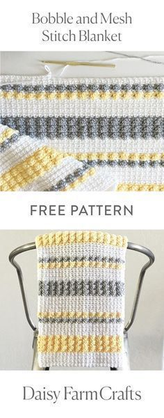 FREE PATTERN Bobble and Mesh Stitch Blanket by Daisy Farm Crafts ~ love the look of this as well as the colour choices Crochet Afghans, Afghan Crochet Patterns, Baby Blanket Crochet, Crochet Stitches, Knitting Patterns, Crochet Blankets, Baby Afghans, Bobble Stitch Crochet Blanket, 10 Stitch Blanket