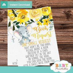 Start growing your little baby's library with these gender neutral floral yellow elephant book request cards. The elephant book request cards feature an adorable baby elephant sitting against a white backdrop decorated with a draping watercolor floral arrangement in yellow accents. #elephantbabyshower #babyshowerideas #genderneutral #booksforbaby