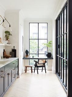 A Brooklyn Residence interior designed by - a charming kitchen with a quiet corner overlooking the neighborhood street. - via and photography by . Elizabeth Roberts, Kitchen Confidential, Interior Design Magazine, Design Interior, Shop Interiors, Custom Home Builders, Home Decor Trends, Contemporary Interior, Decoration