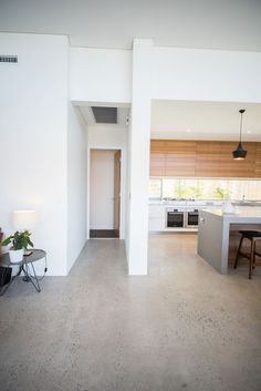 *Polished Concrete* Red Tail Homes Sleek Concrete Kitchen Concrete Kitchen Floor, Polished Concrete Flooring, Smooth Concrete, Timber Kitchen, Kitchen Flooring, Caesarstone Concrete, Polished Concrete Kitchen, Concrete Bedroom Floor, Stone Benchtop Kitchen
