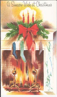 Vintage Christmas Card with Christmas stockings! Old Time Christmas, Old Fashioned Christmas, Victorian Christmas, Vintage Christmas Cards, Vintage Holiday, Christmas Greeting Cards, Christmas Pictures, Christmas Art, Christmas Greetings