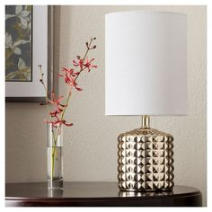 Gold Plated Geometric Ceramic Table Lamp - (Includes CFL Bulb) - Threshold™