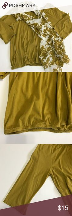 Sonoma 3/4 length sleeve top Sonoma 3/4 length sleeve top in olive green. Comes with pretty lightweight scarf in cream color with olive accent. Bottom of top has elastic. Measurements are lying flat as shown in pic. Length top to bottom: 25'' armpit to armpit 21'' Sonoma Tops Blouses