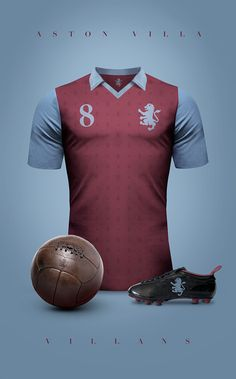 Aston Villa Vintage clubs II on Behance Madrid Football, Retro Football, World Football, Vintage Football, Football Uniforms, Arsenal Football, Football Jerseys, Camisa Retro, Camisa Vintage