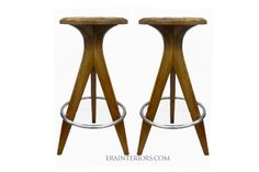 """MID-CENTURY MODERN COUNTER/BAR STOOLS – STL101/C http://www.erainteriors.com/collection/mid-century-modern-kitchen-stools COUNTER STOOLS: 25″h x 12″ seat diam. BAR STOOLS: 30""""h. x 13″ seat diam. FINISH: Solid cherry wood with a French hand polish finish C.O.M. REQUIREMENTS: 1/2 yard/stool LEAD TIME: 6-8 weeks OPTIONS: Walnut, Oak, Maple and Lacquer PRICE: $1680/list counter stool ; $1820/list bar stool"""