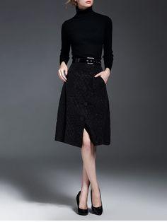 Midi Skirt w/Sweater from stylewe.com