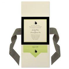 6 x 6 Vertical Folio Pocket Wedding Invitations - 3 Layers
