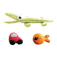 Crochet Pattern Set  Crocodile Car Fish  by annemariesbreiblog, €4.00