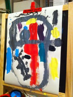 Ben's art on easel, 2014