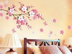 Japanese Pink Cherry Blossom Tree with Butterflies Removable Vinyl Wall Decal Sticker Bedroom Room Art Home Decor
