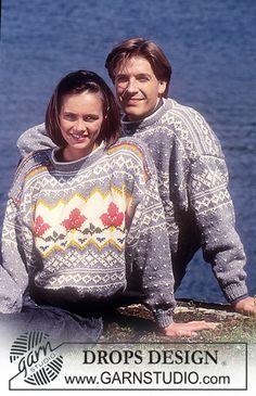 DROPS trui met patroon van Alaska. Heren en damesmaten S – L.  Gratis patronen van DROPS Design.