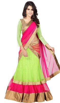 Express your passion for liberating life dressed in this pista green and pink color net lehenga choli. The ethnic resham and zari work to your attire adds a sign of elegance statement with a look. #AwesomeNionParrotAndPinkLehengaCholi